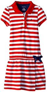 Nautica Girls 7-16 Stripe Polo Dress with Ruffle At Placket and Faux Wrap Skirt from Nautica