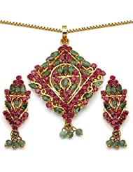 14.10 Grams Green Cubic Zirconia & Red Cubic Zirconia Gold Plated Brass Pendant Set