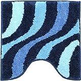 GRUND トイレマット 北欧 50×50cm 洗える シャギーラグ トイレタリー ストライプ ブルー 青 水色 北欧直輸入