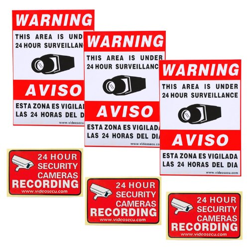 VideoSecu 3 large & 3 small security warning signs/stickers/Decals for CCTV video surveillance camera 1RV