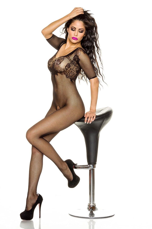 Schwarzer Bodystocking transparent mit Muster / Damen Body dehnbar
