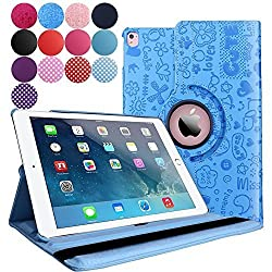 iPad Pro 9.7 Case (2016), Aoways Luxury 360 Degree Rotating Stand Series Smart Defender Cover Case for Apple iPad Pro 9.7 inch ,with Auto Sleep / Wake Feature Leather case Cartoon Blue