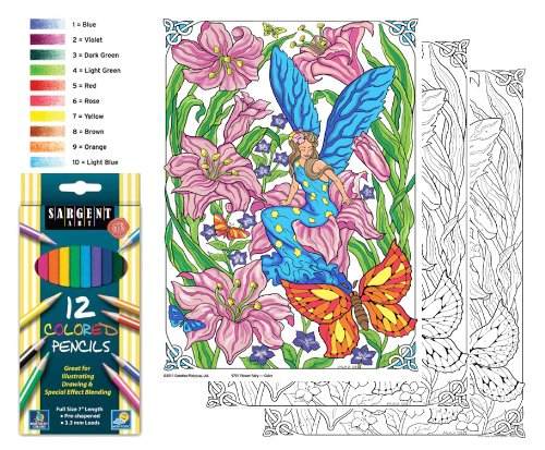Flower Fairy - Color By Number Poster Set - Includes 12 Coloring Pencils