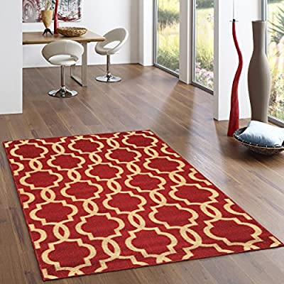 Rubber Backed Fancy Moroccan Trellis Red Teal Blue Brown Beige Rugs and Runners - Rana Collection Kitchen Dining Living Hallway Bathroom Pet Entry Rugs