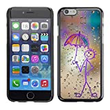 Hard Protective Case Cover Slim Smartphone Shell for Apple Iphone 6 Business Style Happy Rain Window Painting