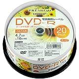 PREMIUM HIDISC DVD-R データ用 4.7GB 16倍速 「写真画質レーベル」 ワイドエリア ホワイトプリンタブル スピンドルケース 20枚 HDVDR47JNP20SN