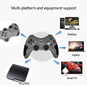 Wireless Controller Game Pad Joystick Gamepad Dual Vibration Double Controllers Turbo Clear and Auto Function with free CD for PS1 PS2 PS3 Consoles PC WIN98 ME 2000 XP VISTA WIN7 Computer Games (Gray) (Color: Grey)
