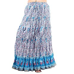 Prateek exports Beautiful Designer Blue Printed Long Skirt