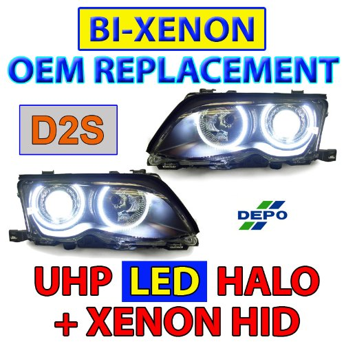 Bi-Xenon D2S Replacement Uhp Led Angel Eye Hid Headlights - 02-05 Bmw E46 4D/5D