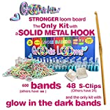 GOODIE TOYS [version 3.0]- ONLY KIT with a SOLID METAL HOOK - 600 GLOW in THE DARK RUBBER BANDS & 48 S-CLIPS - STRONGEST LOOM BOARD AVAILABLE - 100% SATISFACTION GUARANTEE! (version 3.0 released 08/30/14)
