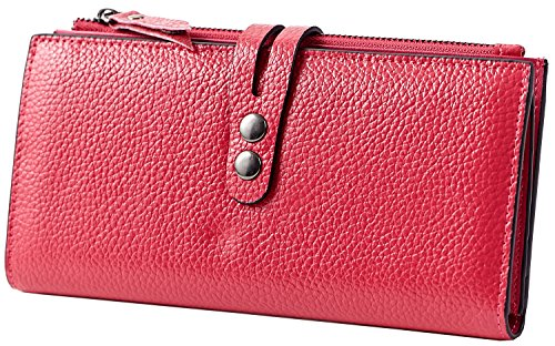 Heshe® New Fashion Women Soft Leather Zippered Long Wallet Clutch Card Holder with 12 Card Slots Candy Color Money Clip for Summer