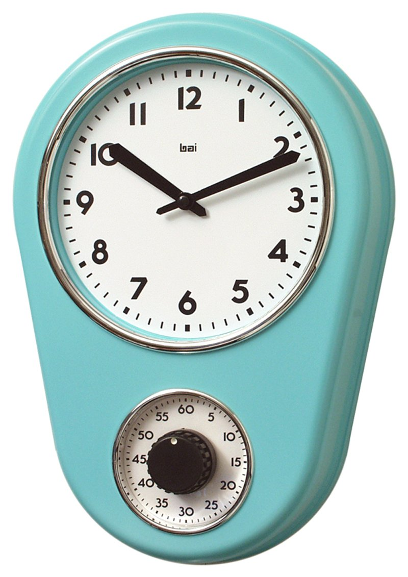 new retro kitchen timer wall mount clock turquoise vintage
