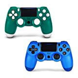2 Pack Controller for PS4,Wireless Controller for Playstation 4 with Dual Vibration Game Joystick (Green + Blue) (Color: GREEN BLUE)