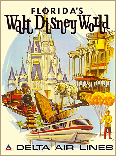 Walt Disney World Delta Airlines Orlando Florida United States of America Travel Advertisement Poster - Poster measures 10 x 13.5 inches (Walt Disney World In Pictures compare prices)