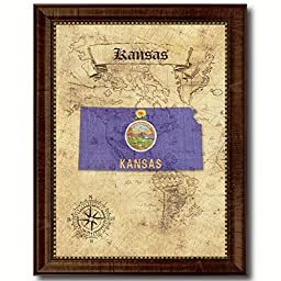 Kansas State Vintage Map Flag Art Custom Picture Frame Office Wall Home Decor Cottage Shabby Chic Gift Ideas
