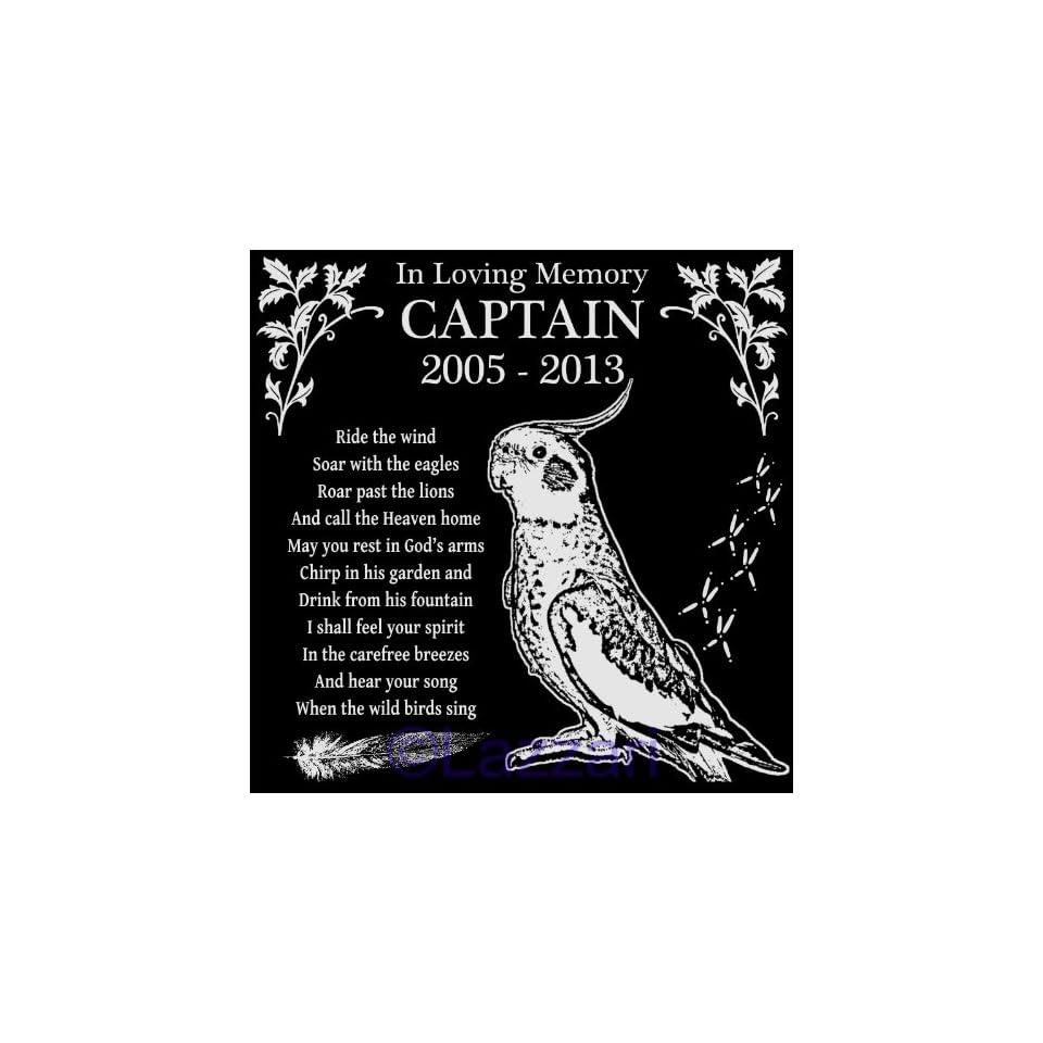 "Personalized Cockatiel Bird Pet Memorial 12""x12"" Engraved Black Granite Grave Marker Head Stone Plaque CAP1"
