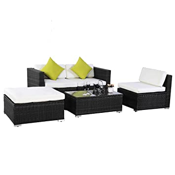 Evre Outdoor Rattan Weave Sofa Set Garden Patio Furniture Outdoor California , Brown