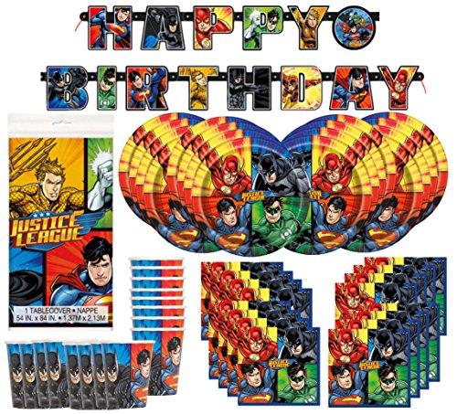 DC-Comics-Justice-League-Superheros-Birthday-Party-Supplies-Pack-Bundle-serves-16-Plates-Cups-Napkins-Banner-Table-Cover