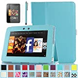 Kindle Fire HD 7.0 Case - ULAK Slim Fit PU Leather Standing Protective Cover with Auto Sleep/Wake Feature for Amazon Kindle Fire HD 7.0 Inch 2012 Gen with Screen Protector, Aqua Blue