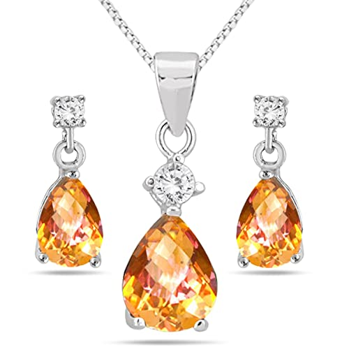 4.25 Carat Natural Twilight Topaz Matching Jewelry Set in .925 Sterling Silver