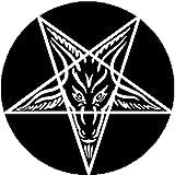 Black Button Pin Goat of Mendes Pentagram Satan Satanic Baphomet Metal 666 Devil (Color: black, Tamaño: 1 inch / 25mm)
