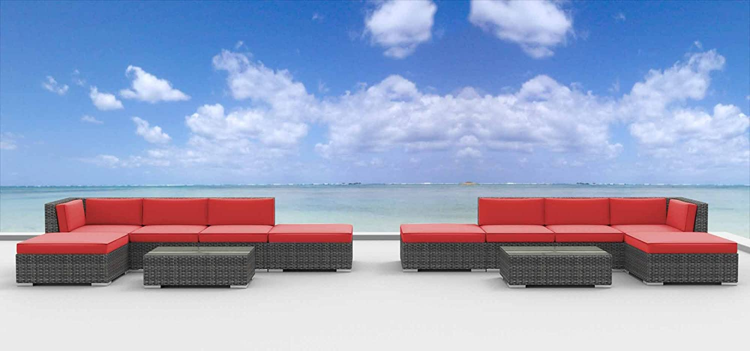 www.urbanfurnishing.net Urban Furnishing - LAGUNA 12pc Modern Outdoor Backyard Wicker Rattan Patio Furniture Sofa Sectional Couch Set - Coral Red at Sears.com