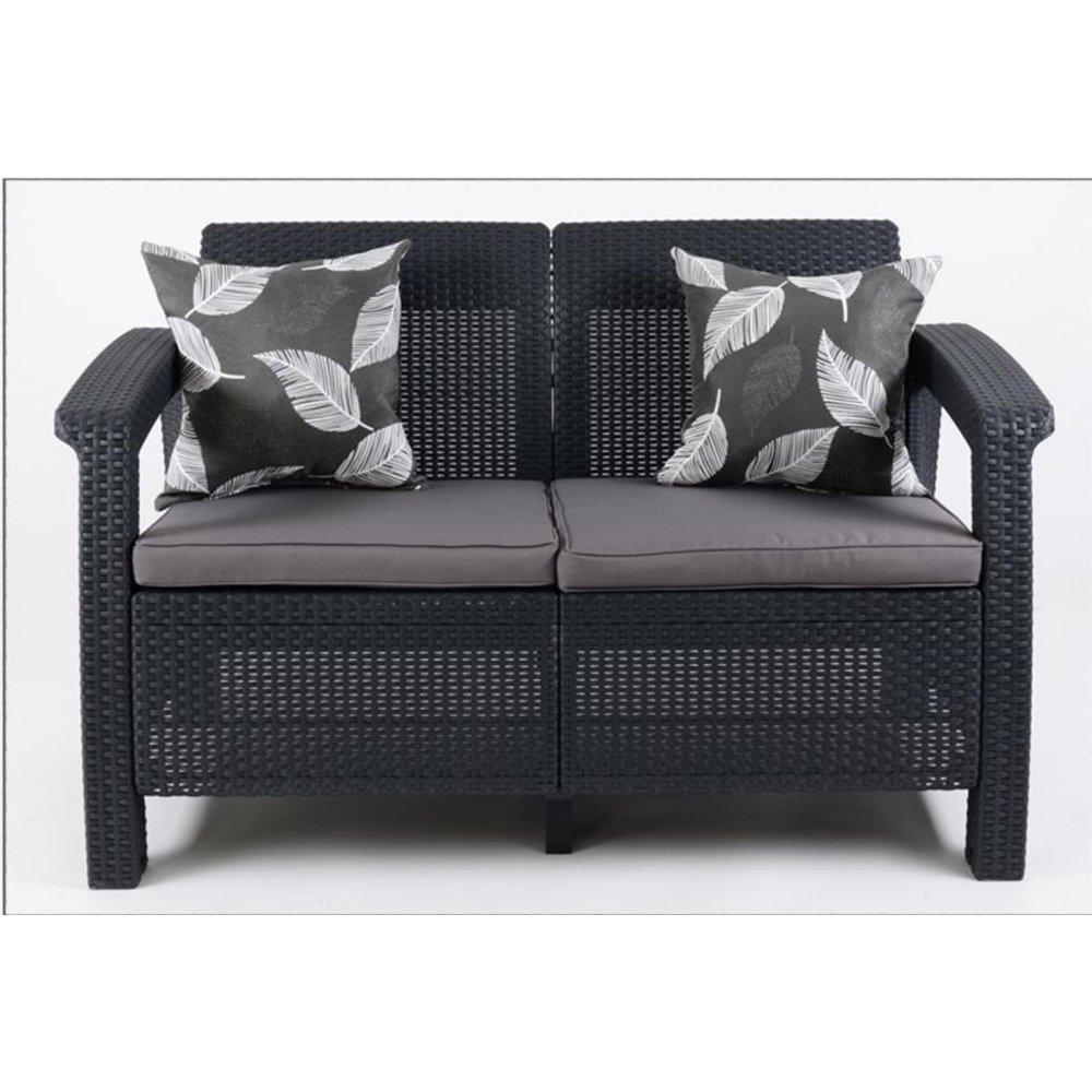 JUSThome Gartenmöbel Couch Bank Rattan 2-Sitzer Sofa Anthrazit Grau