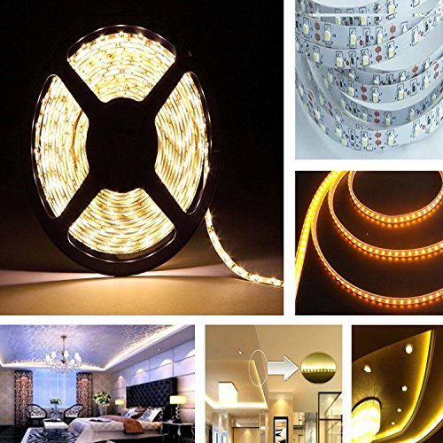 LE® 16.4ft 12V Flexible LED Strip Lights, 3000K Warm White, 82 Lumens / 1.5 Watts per foot, 300 Units 3528 LEDs, Non-waterproof, Light Strips, LED Tape, Pack of 16.4ft/5m