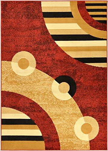 Ottomanson Dark Red Contemporary Circles Design Area Rug (8'2