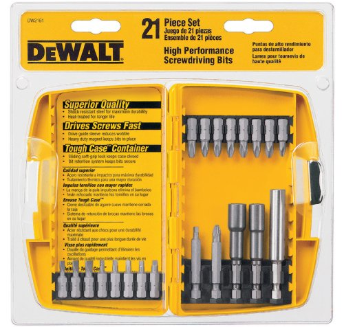 DEWALT DW2161  21 Piece Screwdriving and Nutdriving Set in Plastic Case