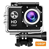Wewdigi EV5000 Action Camera, 12MP 1080P 2 Inch LCD Screen, Waterproof Sports Cam 140 Degree Wide Angle Lens, 30m Sport Camera DV Camcorder with 10 Accessories Kit … (Color: black, Tamaño: 1080p)