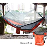 Qyuhe Portable Nylon Fabric Travel Camping Hammock with Mosquito Net 8.53 x 4.6 ft (Gray and Orange, 8.53 x 4.6 ft)