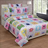 BeautifulHOMES Glory Cotton Double Bedsheet With 2 Pillow Cover - White and Pink