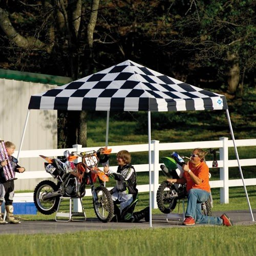ShelterLogic 10x10 Slant Leg Popup Canopy with Roller Bag (Checkered)