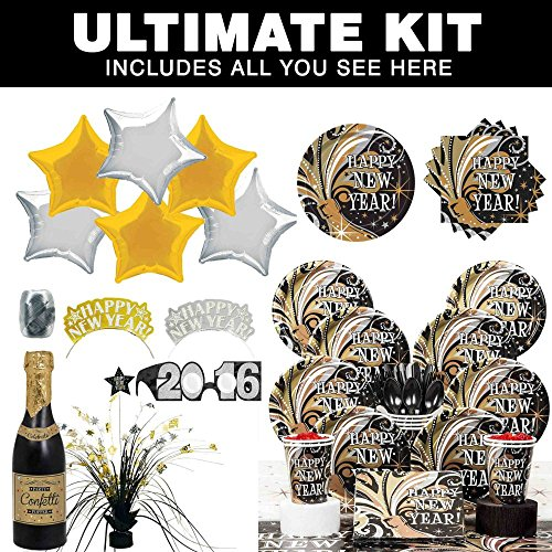 New Years Tableware for 8 - Burst Ultimate Kit - Party Supplies