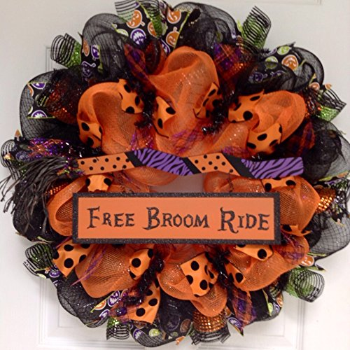 free broom ride deco mesh halloween wreath new full premium handmade deco mesh halloween wreath the outer ring is made of shimmering metallic black