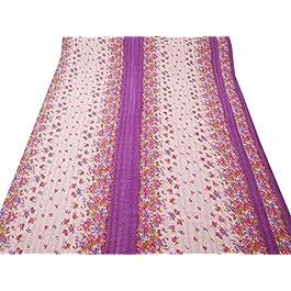 estampado de flores étnico gudri queen size puntada kantha decoración del hogar colcha de algodón