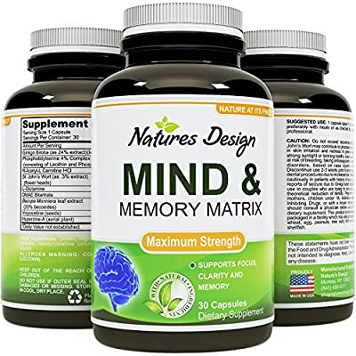 Mind and Memory Matrix 30-count - Ginko Biloba and St. John's Wort - Enhance Brain Function and Mental Alertness - Supports Focus and Clarity - Superior Brain Function - Guaranteed By Natures Design