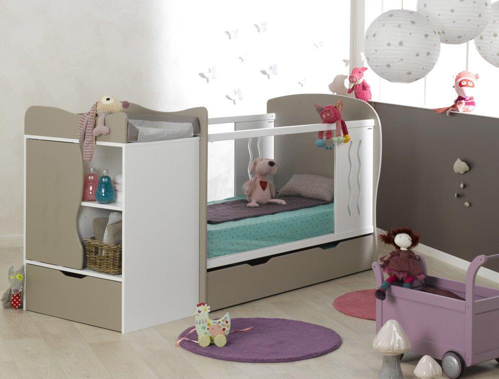Paket Mitwachsendes Babybett Jooly weiß Lein mit Matratze