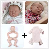 Zero Pam Reborn Baby Doll Kits Eyes Close DIY Doll Making Supplies 20 inch Unpainted Doll Kit Include Head, Limbs and Cloth Body (DK1713-sleep Baby) (Color: DK1713-sleep baby)