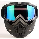 CHAMER Motorcycle Glasses Motocross Goggles Helmet Mask Fog-Proof Windproof UV400 Protection Vintage Harley Motorbike Riding Sunglasses for Kid&Adult CS Paintball (Color: colour Lens)