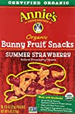 Annie's Homegrown Summer Strawberry Organic Bunny Fruit Snacks, 5 Pouches (Pack of 12)