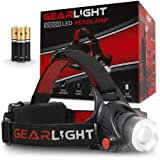 GearLight LED Headlamp Flashlight S1000 - Powerful Broadbeam Camping and Outdoor Headlamps - Construction Hardhat Compatible Safety Head Lamp Light (Color: Black, Red)
