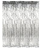 #3: PARTY PROPZ SILVER METALLIC FRINGE FOIL CURTAIN: width: 3FT BY length 6FT