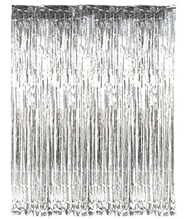 PARTY PROPZ SILVER METALLIC FRINGE FOIL CURTAIN: Width: 3FT BY Length 6FT