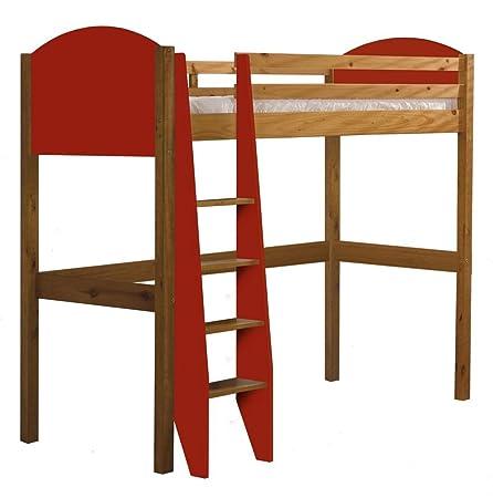 Design Vicenza Verona Sleeper Letto Singolo, Legno, Pino antico con dettagli rossi, 0,9m