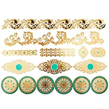 buy Cokohappy Metallic Temporary Tattoo , Bling Gold Green Totem Bracelet Necklace Armbands Ring Fake Jewelry Tattoo,Sexy Body-Art Long-Lasting For Men Women