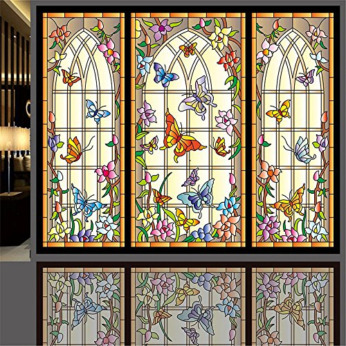 ostepdecor-custom-multicolor-butterfly-translucent-non-adhesive-frosted-stained-glass-window-films-1