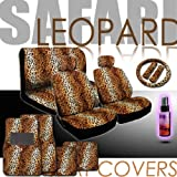 New 16 Pieces Safari Leopard Print Low Back Front Car Seat Covers, Rear Bench Cover, Seat Belt Covers, Steering Wheel Cover, 4 Pieces Carpet Floor Mats and a 2 oz Purple Slice Car Wash Free Detailer/Multipurpose Cleaner