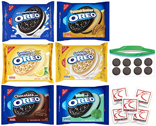Nabisco OREO Cookie Variety Pack of 6 Flavors - Original, Mint Cream, Lemon, Chocolate Cream, Peanut Butter, Golden, Gift Package (Mrs Fields Cookie Mix compare prices)